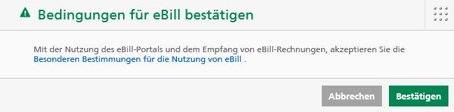 Akzeptieren Sie die besonderen Bediungen von eBill