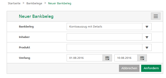 Screenshot Bankbelege selber erstellen